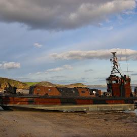 Craft and Beach by Nick Bonwick - Transportation Boats ( beaches, pentewan, marines, beach, cornwall, military )
