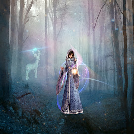 The Dark Woods by Gene Lybarger - Digital Art People ( lantern, digital art, mysterious, lady, white stag, woods )