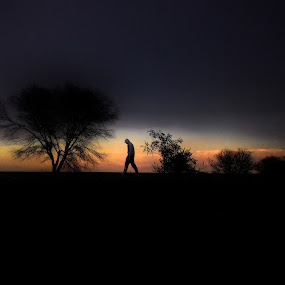Alone by Sidd Harth - City,  Street & Park  Street Scenes ( mobilography, sunset, street, minimal, evening, street photography,  )