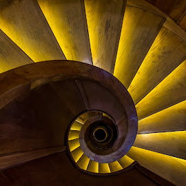 Spiral by Mario Horvat - Buildings & Architecture Architectural Detail ( lights, wooden, stairs, ljubljana, round, spiral,  )