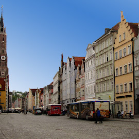 Landshut by Oleksii Liebiediev - City,  Street & Park  Street Scenes ( color houses, landshut, bavaria, street, germany )