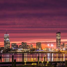 Boston by Cary Chu - City,  Street & Park  Night (  )