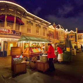 Marketplace by Jerome Obille - City,  Street & Park  Markets & Shops ( market, street, disneyland, night, street scene, vendors, public, evening )