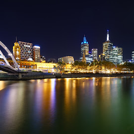 Melbourne at night by Stuart Billington - City,  Street & Park  Skylines ( lights, reflection, buildings, night, city, river )