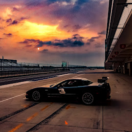 Twilight Before! by Jim Moon - Transportation Automobiles ( race cars, www.thecircuitoftamericas.com, jimmoon.photoshelter.com, corvette, whisper river photography, circuit of the americas, cota, charles p. francis aka chuck francis, speed ventures, f1 track., race )