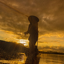 Fisherman by Visoot Uthairam - People Portraits of Men ( laos, player, bright, fish, thailand, travel, asian, balance, sky, farmer, nature, province, cool, job, lake, tourism, environment, food, ripple, paddle, golden, reflection, tropical, children, burma, net, mirror, tranquil, fresh, poverty, tradition, asia, man, water, peaceful, weed, beautiful, poor, play, traditional, boat, myanmar, color, blue, sunset, sunrise, fishing, fisherman, reflect, river )
