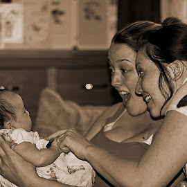 First Giggle.... by Richard Bull - People Family ( girls, giggle, friends, b&w, family, baby )