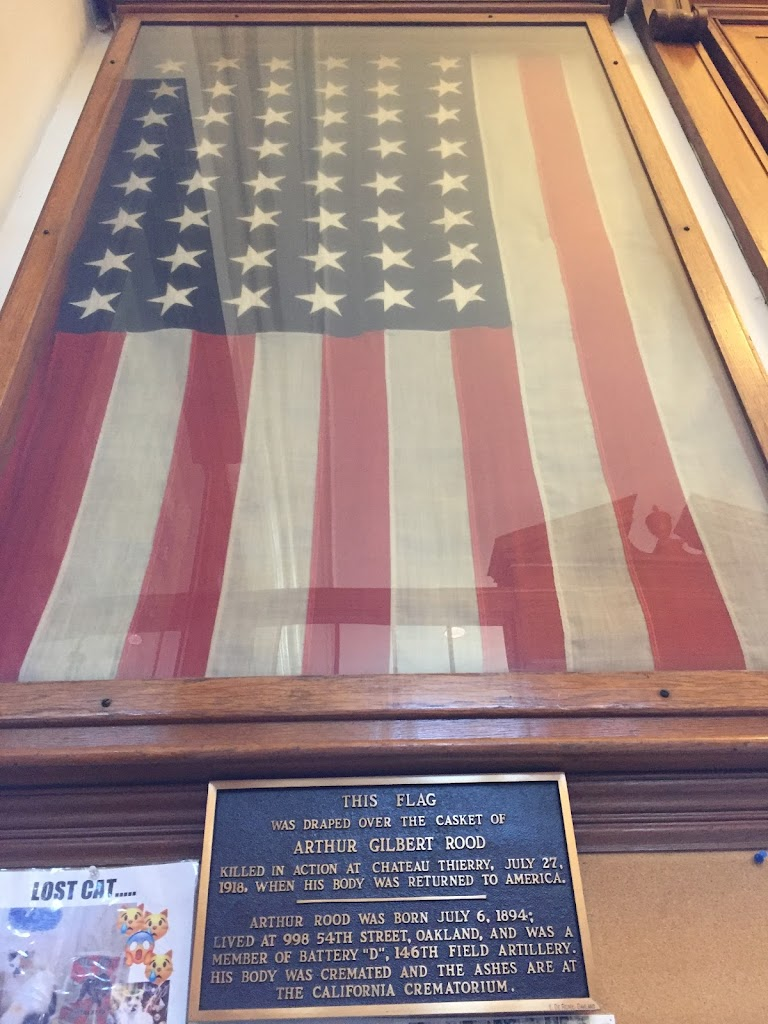 THIS FLAGWAS DRAPED OVER THE CASKET OFARTHUR GILBERT ROODKILLED IN ACTION AT CHATEAU THIERRY, JULY 27,1918, WHEN HIS BODY WAS RETURNED TO AMERICA ARTHUR ROOD WAS BORN JULY 6, 1894;LIVED AT 998 ...