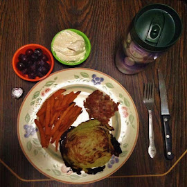 Baked Cabbage Steak by Daniel Paden - Food & Drink Plated Food ( steak, fries, sweet, hash, cabbage, beef, potato, baked )