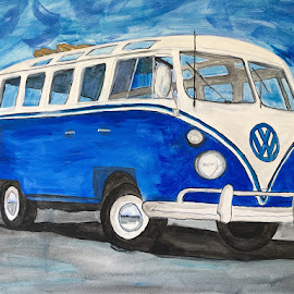 Blue Bus by Raymond Paul - Illustration Products & Objects ( volkswagen van, blue bus, bus, hippie, canvas, acrylic, westfalia, vw bus, paint )