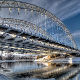 The Vimy Bridge by Marc Parent - Buildings & Architecture Bridges & Suspended Structures ( clouds, winter, sky, reflections, architectural detail, bridge, suspended, daylight, river )