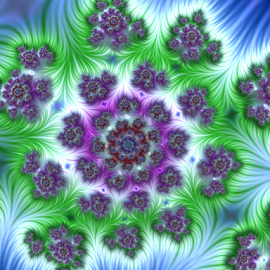 Flower field by Cassy 67 - Illustration Abstract & Patterns ( swirl, digital art, spiral, flowers, fractal, digital, fractals, flower )