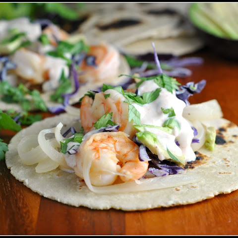 Honey-Lime Tequila Shrimp Tacos with Avocado and Chipotle Cream