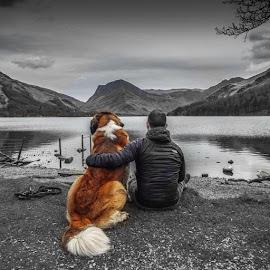 Lake Buttermere with my st bernard, last saturday. by Jon Morgan - People Street & Candids