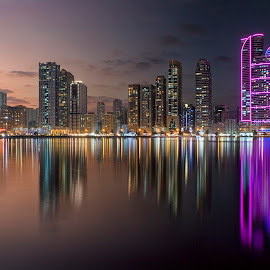 Day and Night at Al Madjaz by Ricky Pagador - City,  Street & Park  Skylines ( lights, cityscapes, reflection, reflections, cityscape, nightscapes, nightscape )