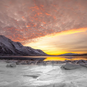 Sunset and ice by Benny Høynes - Landscapes Sunsets & Sunrises ( mountains, cloudes, ice, sunset, sea, norway )