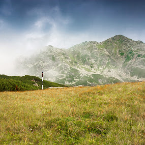 Retezat Peak by Eduard Moise - Landscapes Mountains & Hills ( clouds, mountain, summer, morning, rocks, misty )
