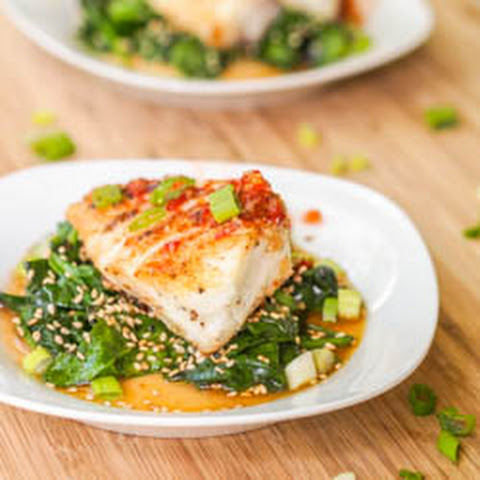 Seared Chilean Sea Bass with Asian Glaze and Sesame Spinach {Gluten-Free, Dairy-Free}