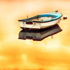 by Kristijan Siladić - Transportation Boats ( orange, sunset, sea, ocean, boat )