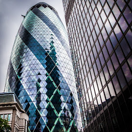 The Gherkin by Kevin Warrilow - Buildings & Architecture Office Buildings & Hotels ( gherkin, green blue, london, glass, buildings, reflections )