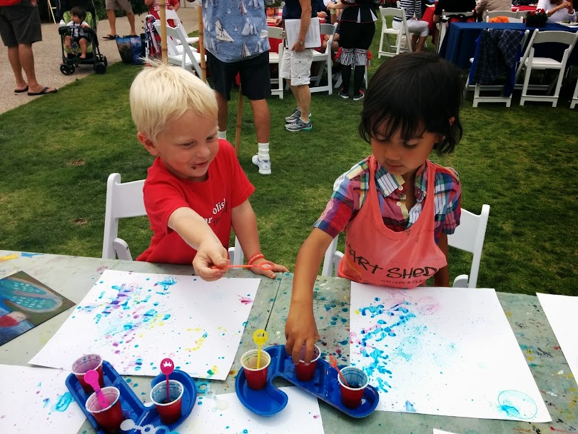 Young artists 'bubble painting' at a local San Diego benefit