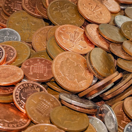 Coins closeup by Darrell Evans - Artistic Objects Other Objects ( mound, change, silver, fortune, coinage, currency, loose change, assets, riches, pence, funds, coins, income, value, money, cash, tender, coppers, wealth, pile, penny, finances, denomination, pound )