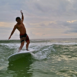 { Surfin Sunset Beach @ Sunset ~ 27 July }  by Jeffrey Lee - Sports & Fitness Surfing ( { surfin sunset beach @ sunset ~ 27 july } )