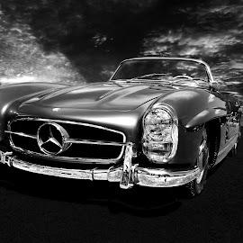 Mercedes by JEFFREY LORBER - Black & White Objects & Still Life ( car photos, b&w, black and white, lorberphoto, mervedes, car photoz, benz, rust 'n chrome, jeffrey lorber )