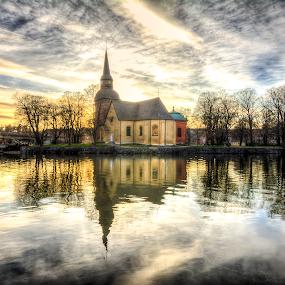 Church of  Fors by Manu Heiskanen - Uncategorized All Uncategorized ( water, mirror, chirch, manulitoo, church, eskilstuna, skyporn, cloud, cloudporn, nikon )