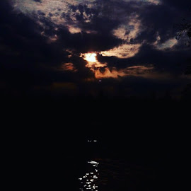 Night Moon Reflections #clarendonfilter #hickslakenightmoon2016 by Debbie Squier-Bernst - Landscapes Cloud Formations