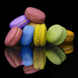 Colourful Macarons by Sam Song - Food & Drink Candy & Dessert ( reflection, sweet, colourful, colorful, creamy,  )