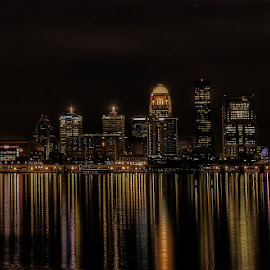 Louisville at Night by Tim Miller - City,  Street & Park  Skylines ( skyline, louisville, night, kentucky, city at night, street at night, park at night, nightlife, night life, nighttime in the city )