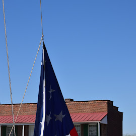 Flag Raising Fort McHenry by Kim Ronningen-Mekonis - Buildings & Architecture Public & Historical ( history, red, blue, white, historical )