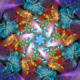 Fractal Star Pinwheel by Peggi Wolfe - Illustration Abstract & Patterns ( abstract, wolfepaw, pattern, bright, color, illustration, fun, pinwheel, fractal, digital )