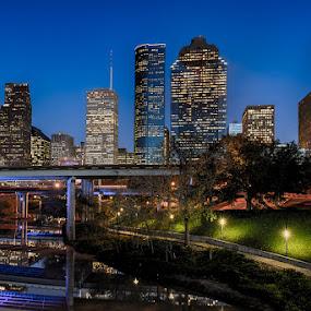 Blue Hour on Buffalo Bayou by Dee Zunker - City,  Street & Park  Skylines ( buffalo bayou, pwcarcreflections, skyline, sabine street bridge, nighttime, texas, twilight, houston, reflections, usa, downtown, night, lights )