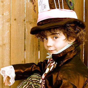 by Lori Lei Herr - Babies & Children Children Candids ( fairy tale, children, brown hair, mad hatter, halloween, hat, child, brown eyes, fence, story, color, autumn, fall, costume, brown, boy )