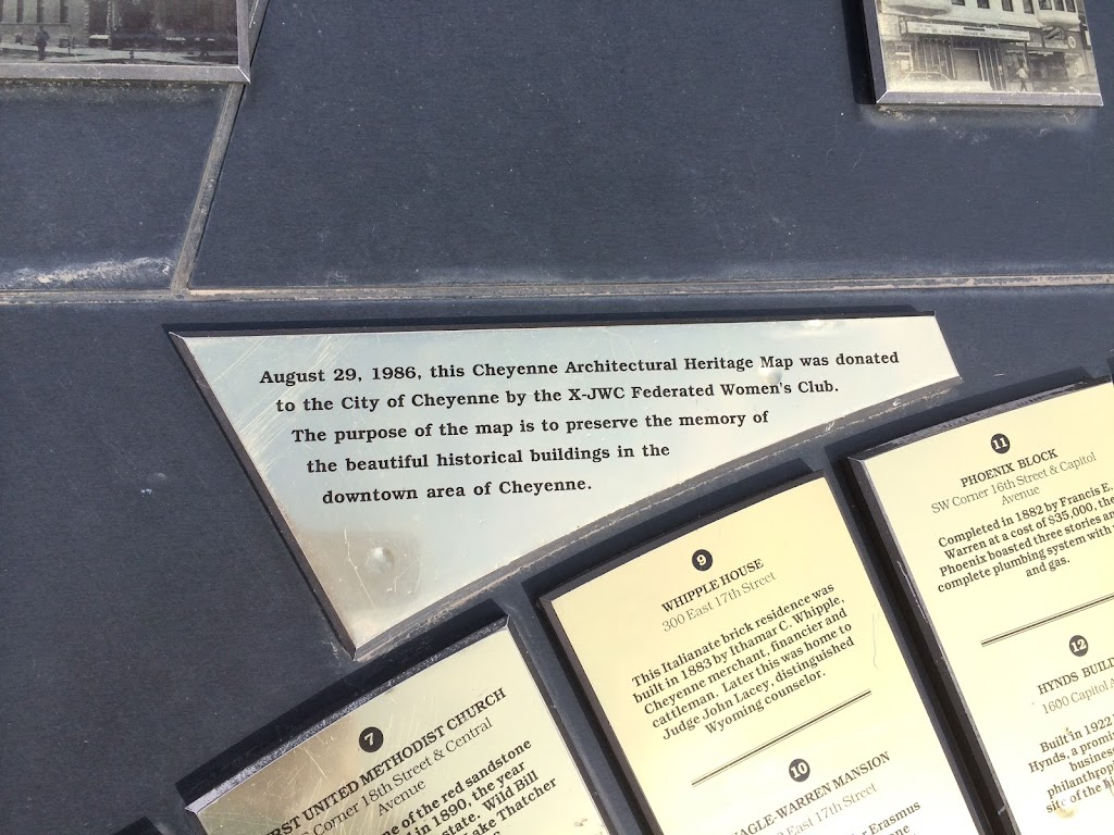 Plaque text: August 29, 1986, this Cheyenne Architectural Heritage Map was donated to the City of Cheyenne by the X-JWC Federated Women's Club. The purpose of the map is to preserve the memory of the ...