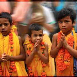 Hindu Boys by Visakha Marla - Babies & Children Children Candids ( orange, boys, children, india, travel, people )
