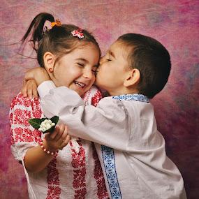 Dragobete by Nicu Buculei - Babies & Children Child Portraits ( love, kiss, children, romania, draobete )