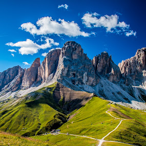 SassoLungo by Mario Horvat - Landscapes Mountains & Hills ( clouds, mountains, blue sky, sasso lungo, italia, sella ronda, grass, green, dolomites, rocks, peaks,  )