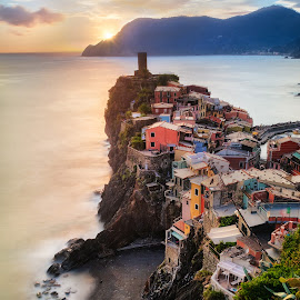 Vernazza in my mind by Jimmy Kohar - Landscapes Travel ( water, houses, cinque terre, colors, vernazza, unesco, coast, sky, italia, liguria, sunset, long exposure, italy, la spezia, misty )
