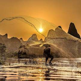Casting a Net by David Long - Artistic Objects Other Objects ( li river, fishing net, guilin )