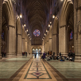 Down the Nave at Washington National Cathedral by Gary Stanley - Buildings & Architecture Places of Worship ( church, washington national cathedral, nikon nikkor 16mm f/2.8d af fisheye lens, cathedral, nikon d810, nave )