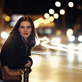 In traffic by Ionut Stoica - People Portraits of Women ( lights, long exposure, night, portrait )