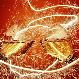 Wine glasses and sparkle tail by Peter Salmon - Artistic Objects Glass ( glasses, trail, glass, light, sparklers )