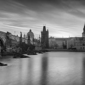 Prague by Robert Grim - Black & White Buildings & Architecture ( fotografia, czech republic, bride, prague, charles bridge,  )