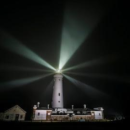 Foggy Lights by Clive Wright - Landscapes Travel ( sky, fog, beams, dark, lighthouse, night, light )