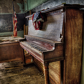 America the Beautiful by Michael Land - Artistic Objects Musical Instruments ( school, piano, america, abandonded, american flag, decay )