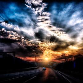 Sunset Road by Scott Bryan - Landscapes Sunsets & Sunrises ( clouds, sky, highway, color, sunset, road, landscape )