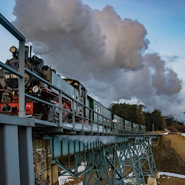 Full speed ahead... by Martin Namesny - Transportation Trains ( railway, pair, steam train, locomotive, bridge, steam )